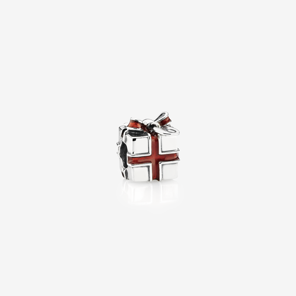 Present silver charm with red enamel image number null