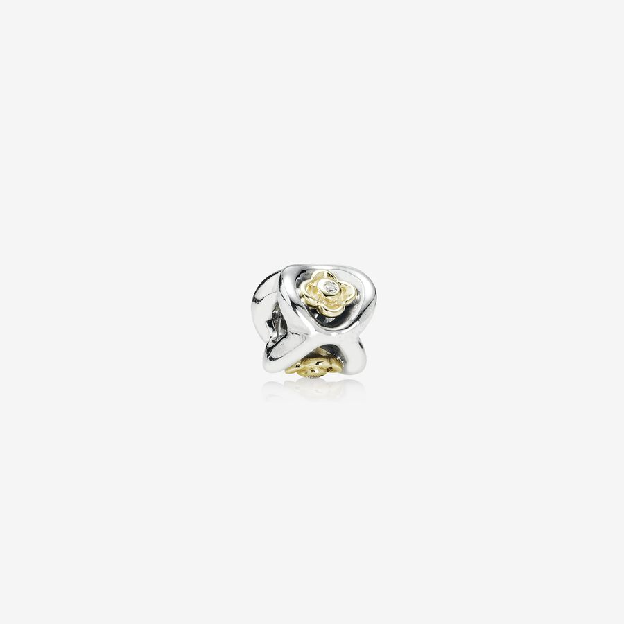 Floral silver charm with 14k, 0.03ct TW h/vs diamonds image number 0