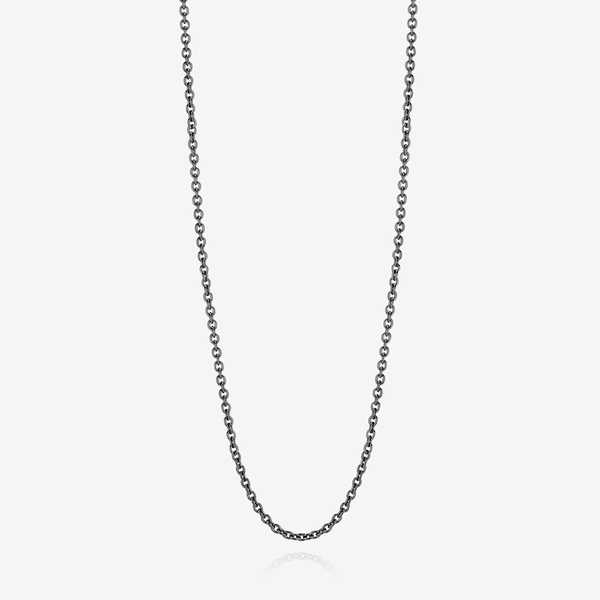 Black rhodium silver necklace, trace chain image number null