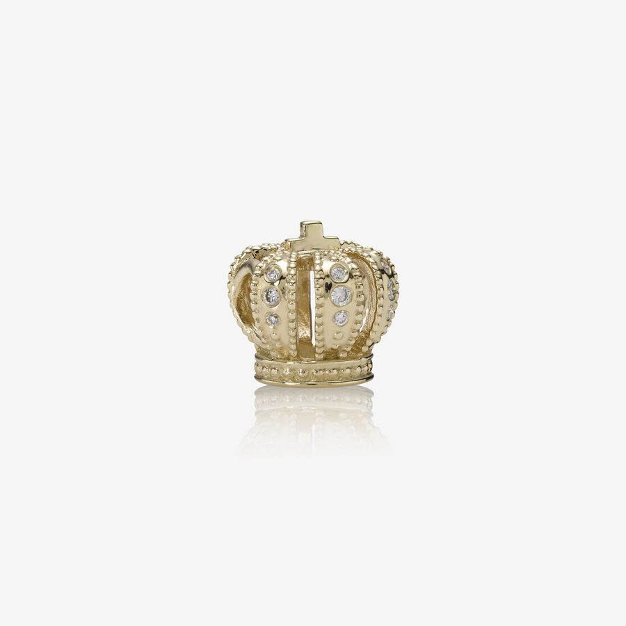 Majestic Crown, gold charm, 0.108ct TW h/vs diamonds image number 0