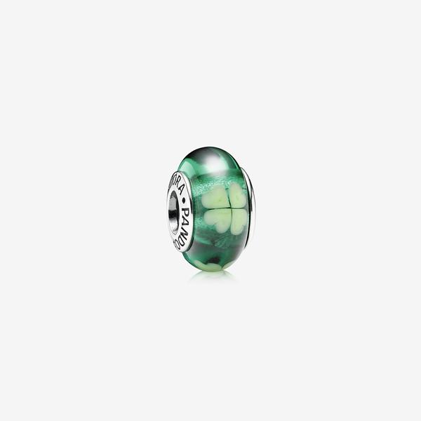 Charm Cristal de Murano Trébol Verde image number null