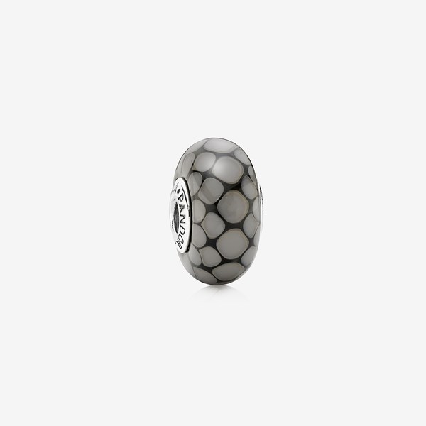 Dotted XL silver charm with grey murano glass image number null