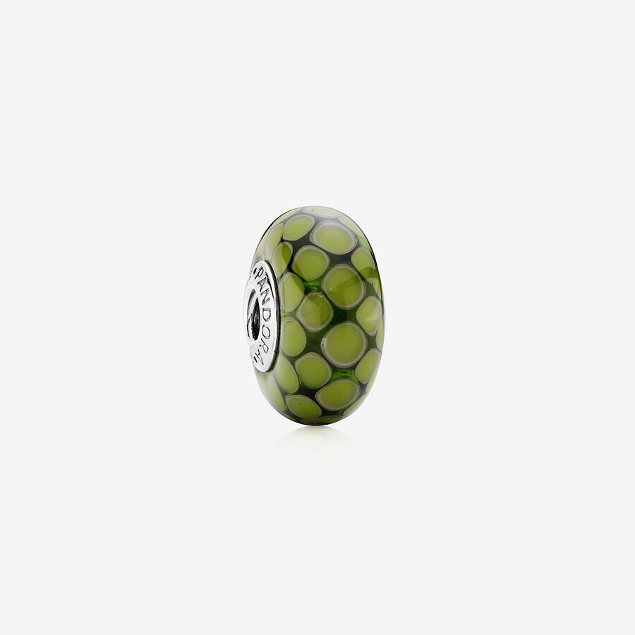 Dotted XL silver charm with green murano glass image number 0