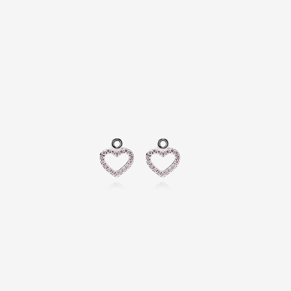 Silver earring, pink cubic zirconia image number null