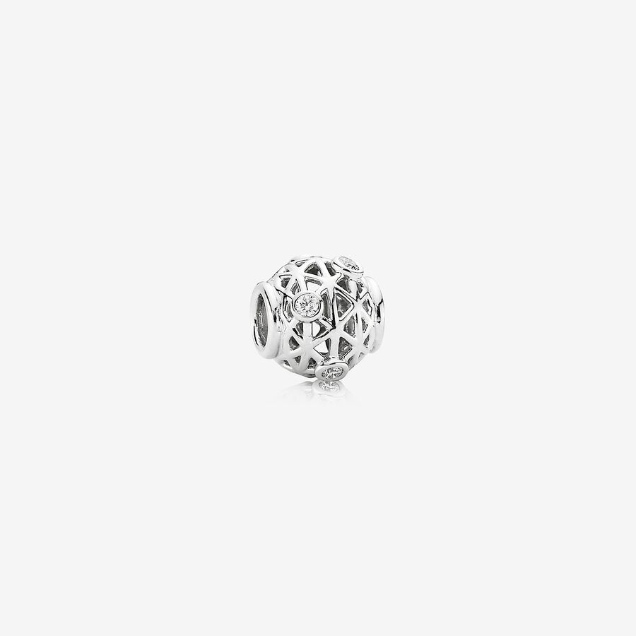 Open Grid, abstract white gold charm, 0.18ct TW h/vs diamonds image number 0