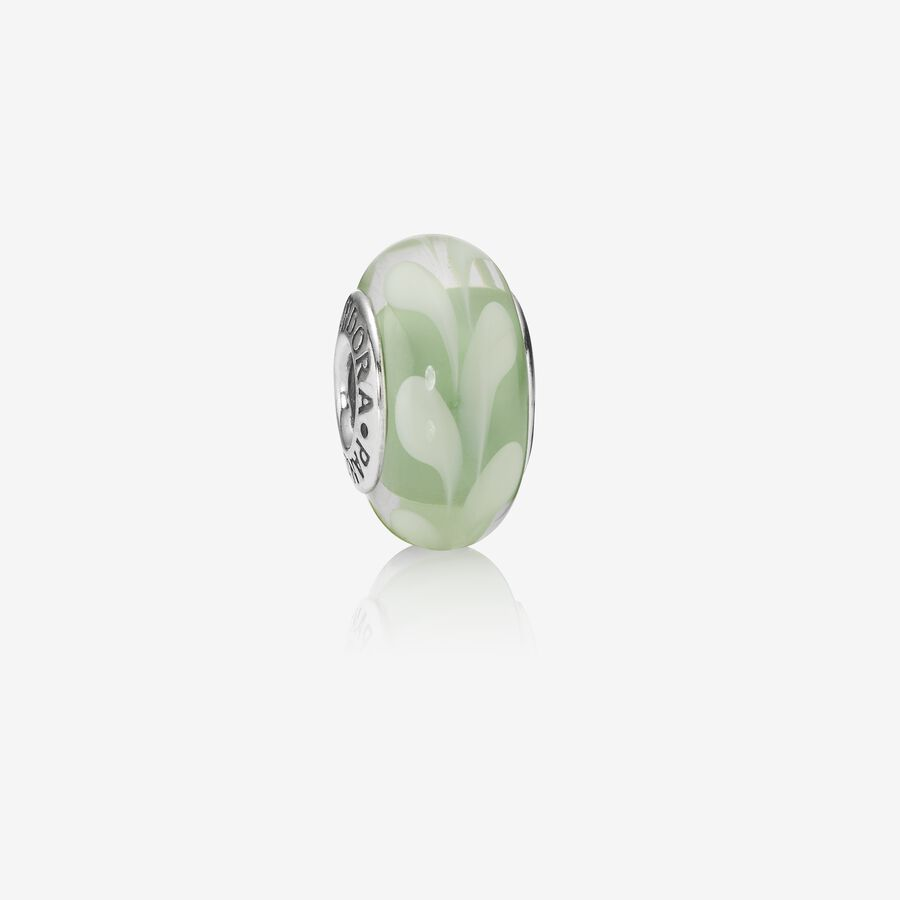 Abstract silver charm with green and white murano glass image number 0