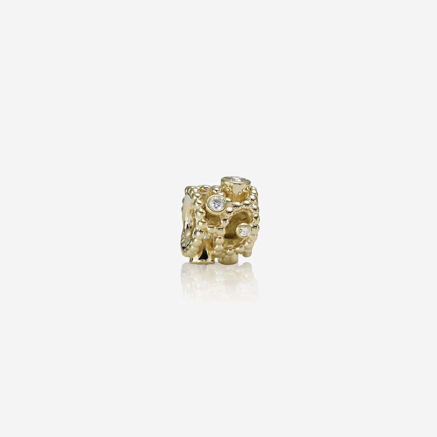Abstract gold charm, 0.25ct TW h/vs diamonds image number 0