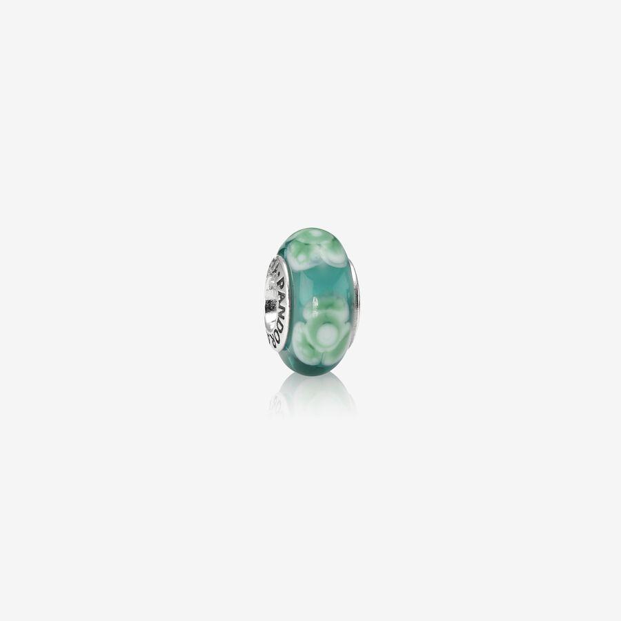Charm Cristal de Murano Flor Turquesa image number 0