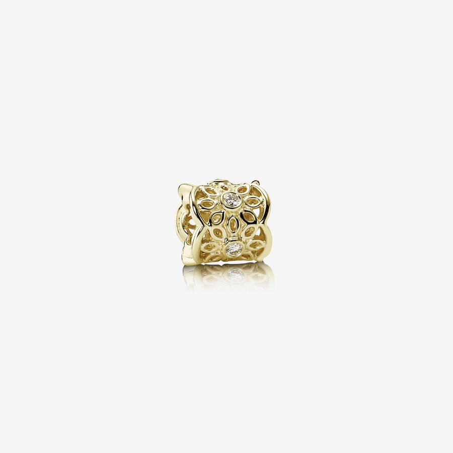 Freesia, openwork lace flower charm, 0.15ct TW h/vs diamonds image number 0