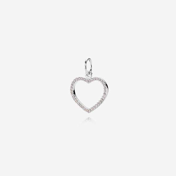 Silver pendant, pink cubic zirconia image number null