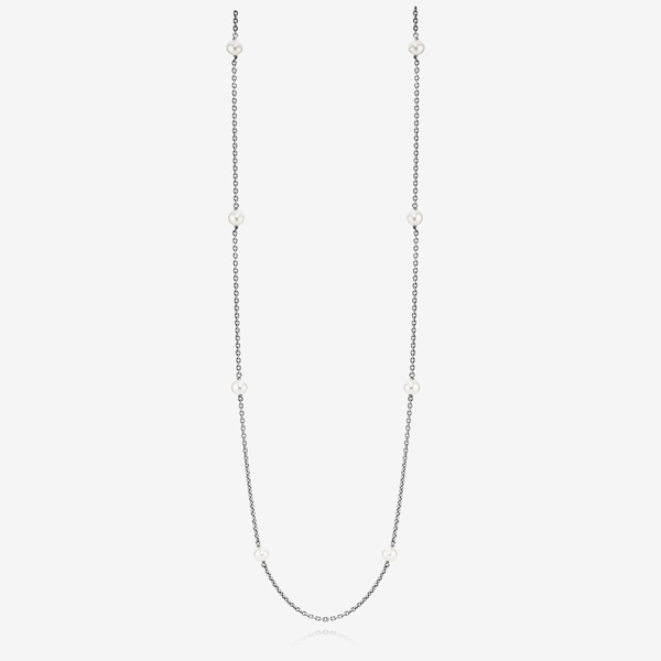 Oxidised silver necklace, white freshwater cultured pearl image number null