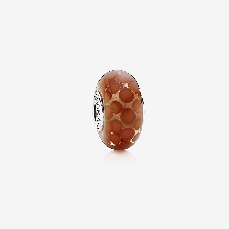 Dotted XL silver charm with red murano glass image number 0