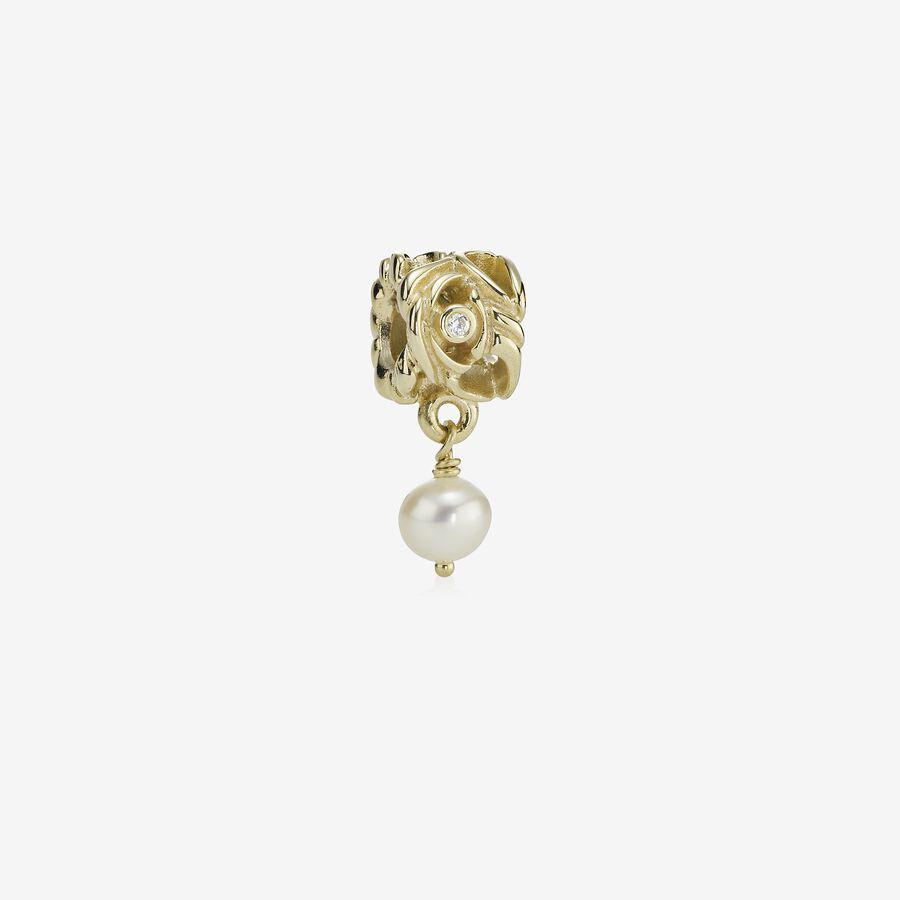 Orion, abstract gold dangle, pearl, 0.02ct TW h/vs diamonds image number 0