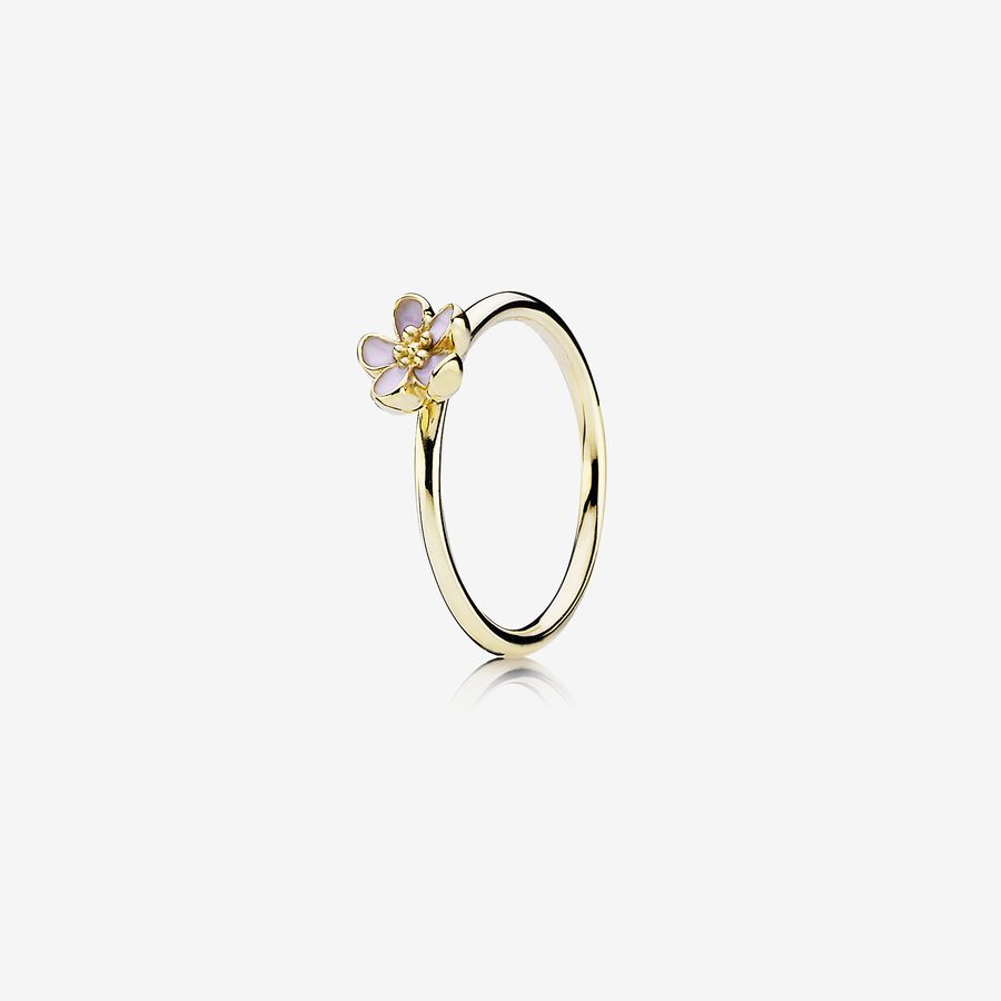Gold ring with pink enamel image number 0