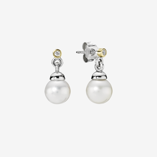 Silver earring, white pearl, 0.04ct TW h/vs diamonds image number null