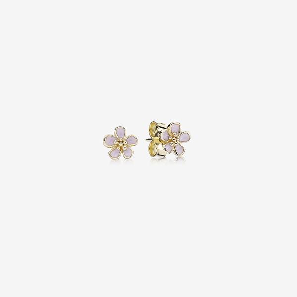 Gold stud earring with pink enamel image number null
