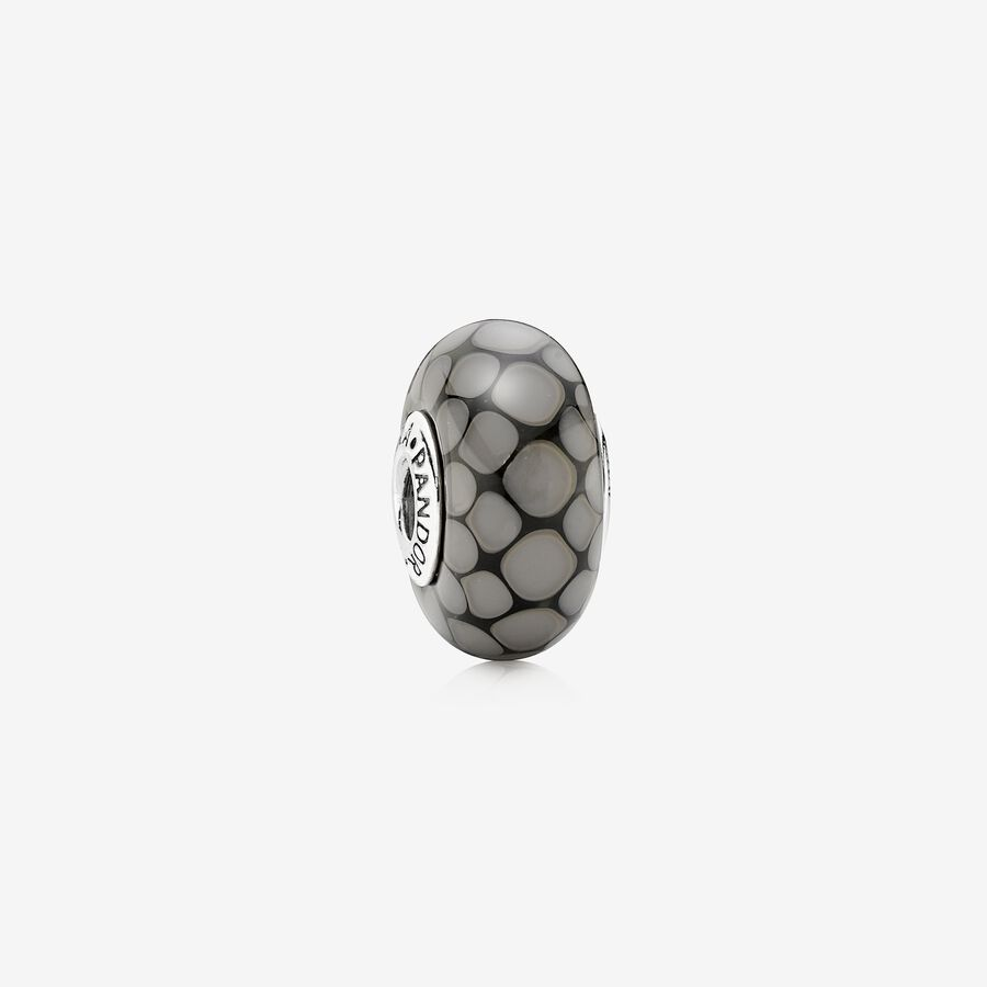 Dotted XL silver charm with grey murano glass image number 0