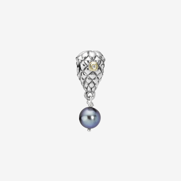 Grapes silver dangle, 14k, pearl, 0.02ct TW h/vs diamonds image number null