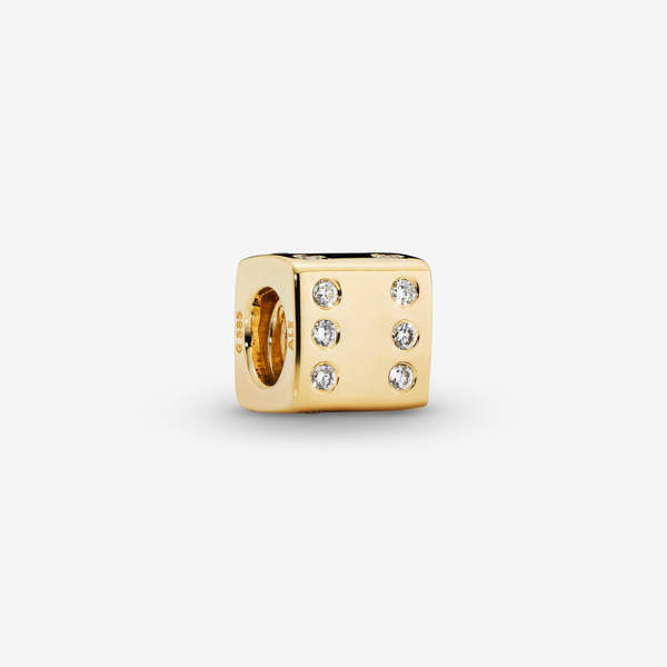 Dice gold charm with 0.14ct TW h/vs diamonds image number null