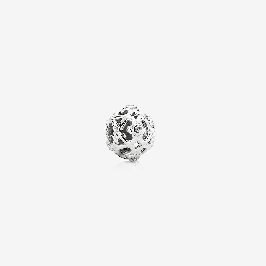 Open Sparkling Heart, openwork hearts white gold charm, 0.05ct TW h/vs diamonds image number 0