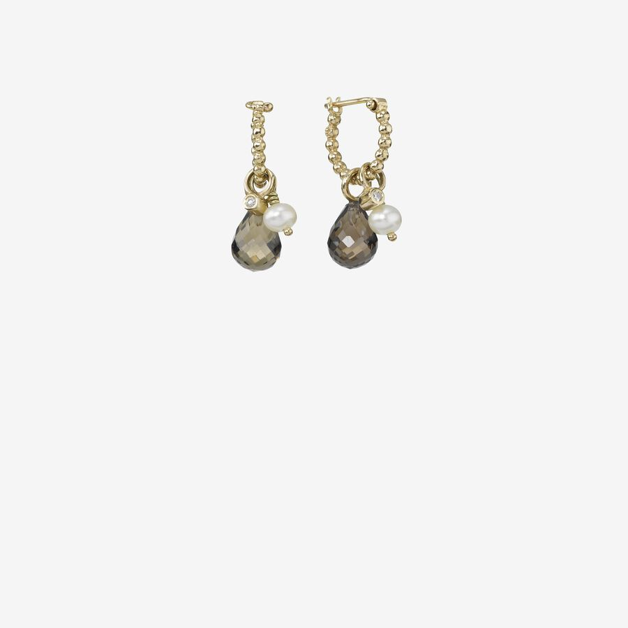 Gold earring, 0.02ct TW h/vs diamonds image number 0