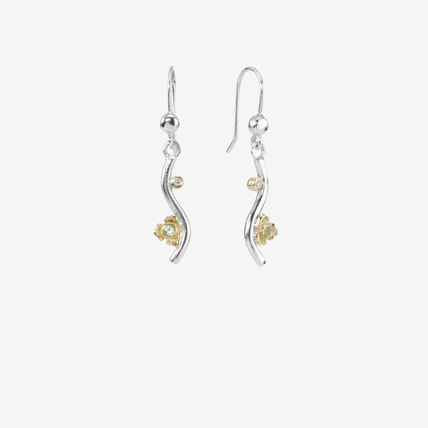 Silver earring, 14k, peridot, 0.02ct TW h/vs diamonds image number null