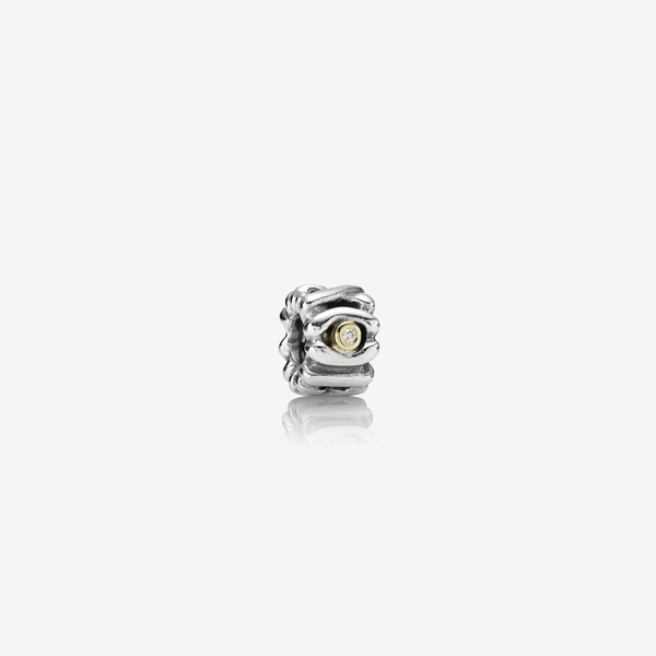 Abstract silver charm, 14K, 0.02ct TW h/vs diamonds image number null