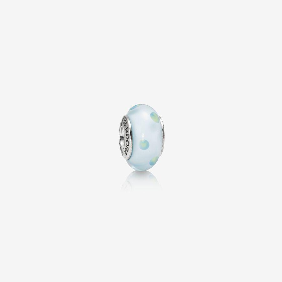 Charm Cristal de Murano Lunares Verde Azulado image number 0