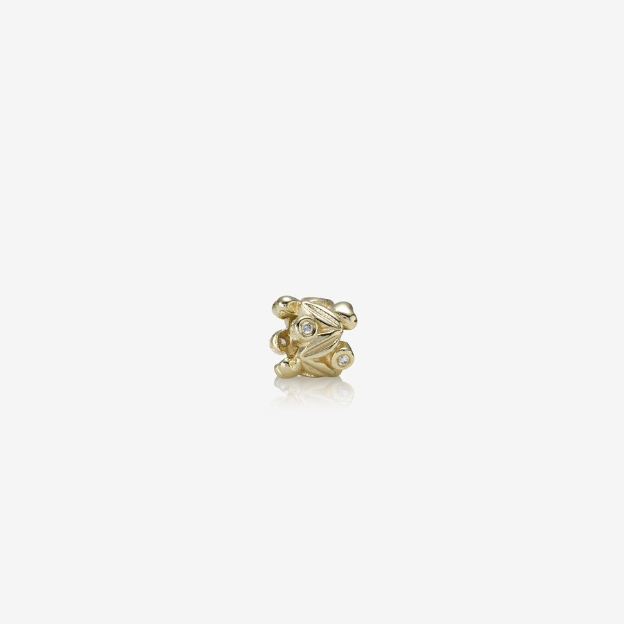 Leaves gold charm, 0.04ct TW h/vs diamonds image number 0
