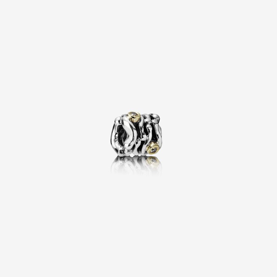 Abstract silver charm, 14k, 0.06ct TW cognac coloured diamon image number 0