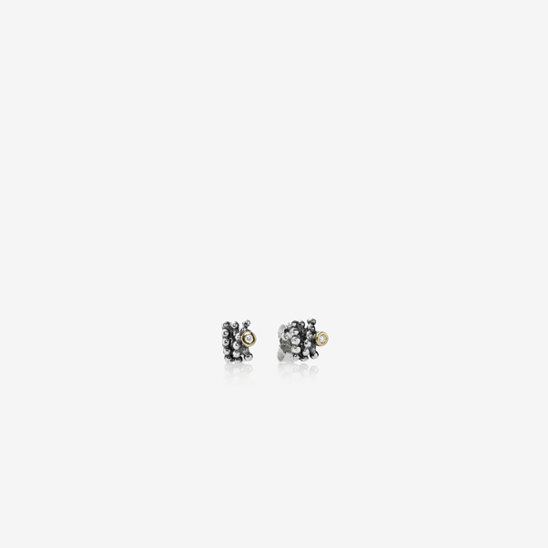 Silver earring, 14k, 0.02ct TW h/vs diamonds image number null