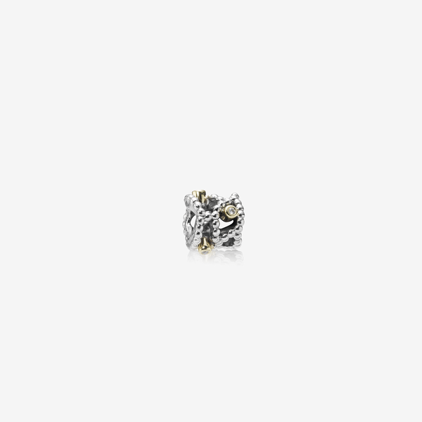 Abstract silver charm, 14k, 0.04ct TW h/vs diamonds image number null