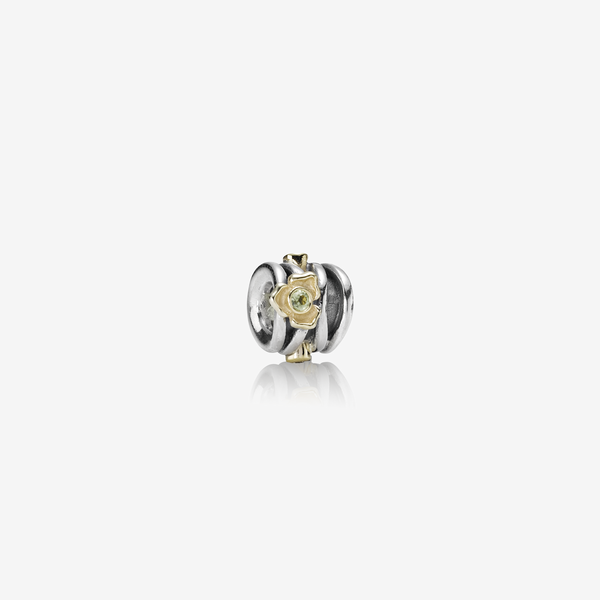 Rose silver charm, 14K, peridot, 0.02ct TW h/vs diamonds image number null