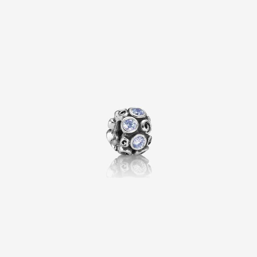 Abstract silver charm with blue cubic zirconia image number 0