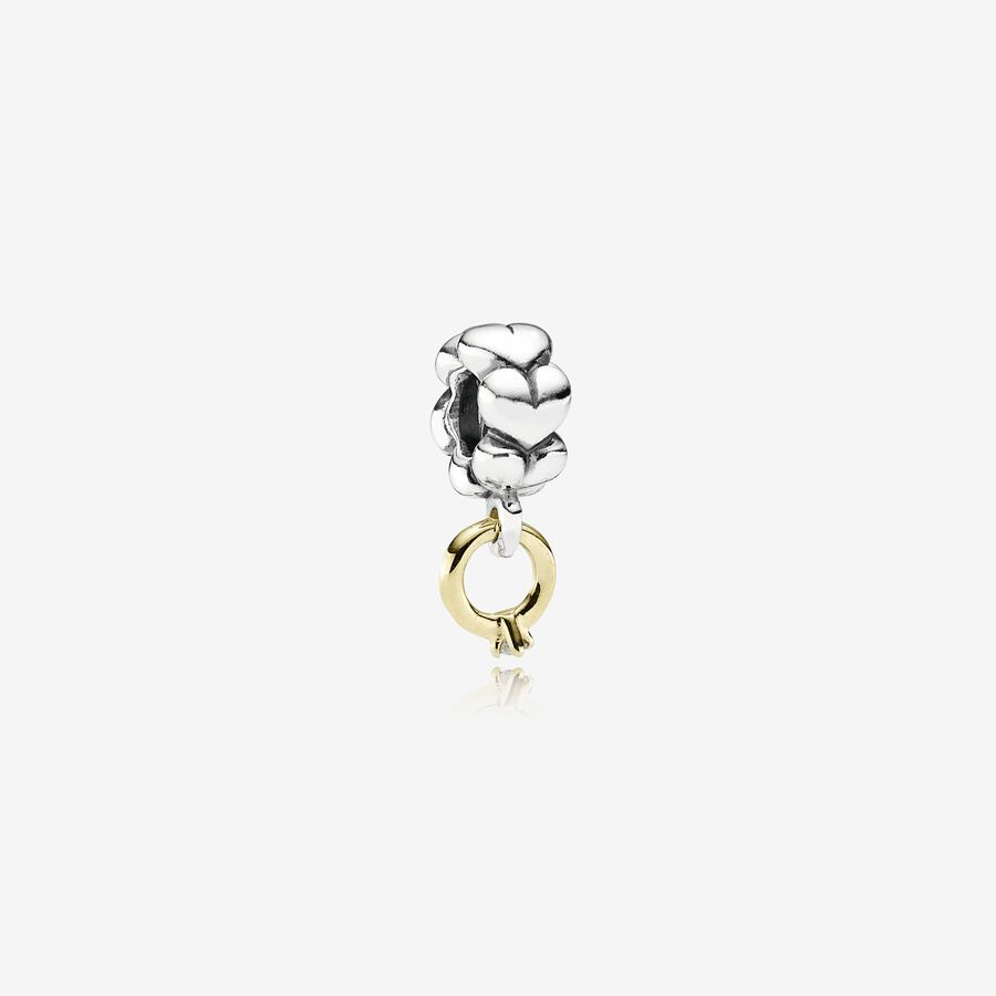 Solitaire, ring silver dangle with 14k, 0.02ct h/vs diamond image number 0