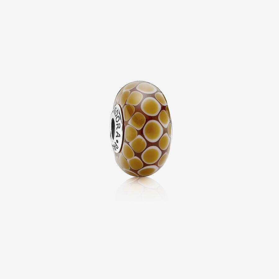 Dotted XL silver charm, cinnamon coloured murano glass image number 0