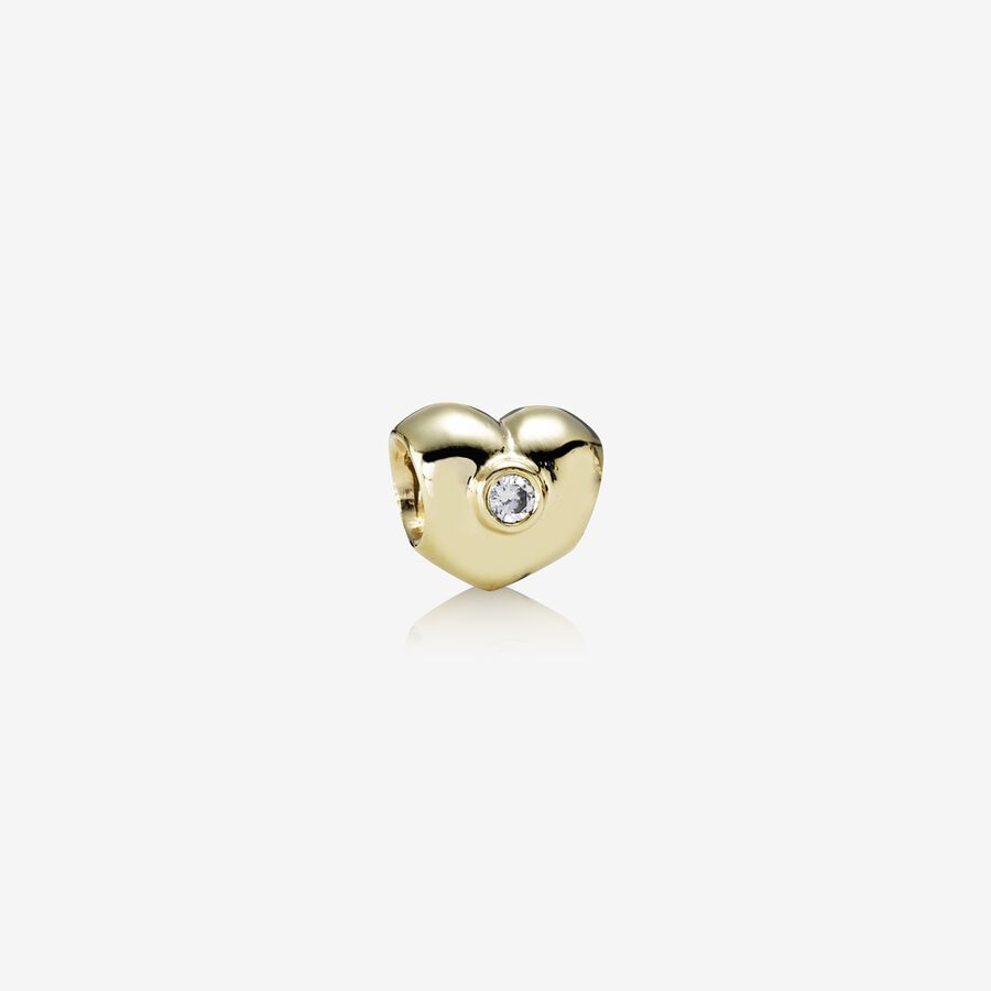Sparkling Heart, heart gold charm, 0.12ct TW h/si diamonds image number 0