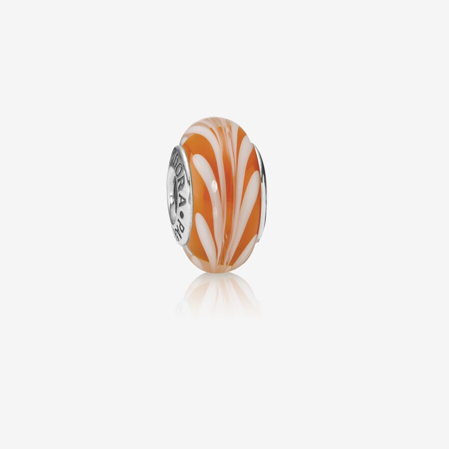 Abstract silver charm with orange and white murano glass image number 0