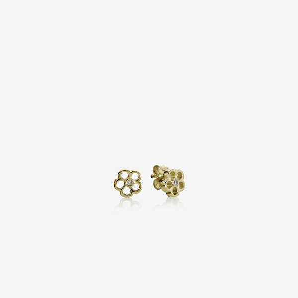 Gold earring, 0.03ct TW cognac colour diamonds image number null