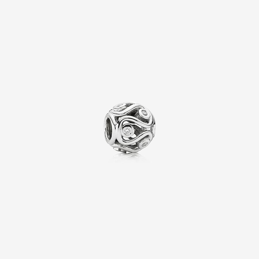 Willow, abstract white gold charm, 0.12ct TW h/vs diamonds image number 0