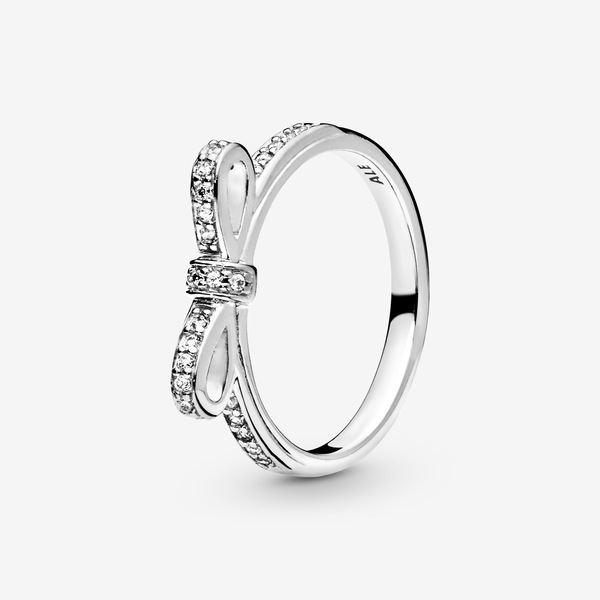 Bow silver ring with cubic zirconia image number null