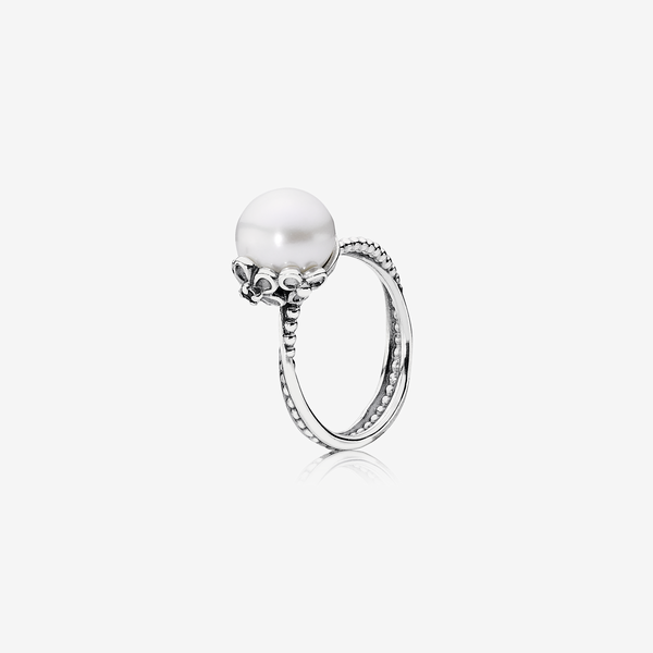 Silver ring, white freshwater cultured pearl, cubic zirconia image number null