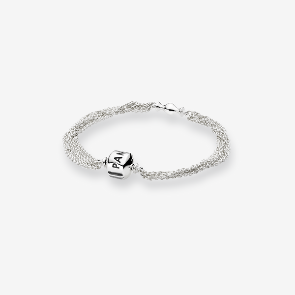 Silver bracelet, multi chain, 1 clip image number null