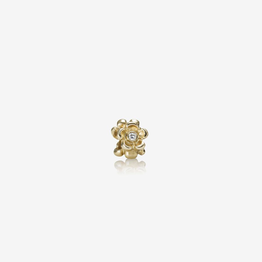Floral gold charm with 0.09ct TW h/vs diamonds image number 0