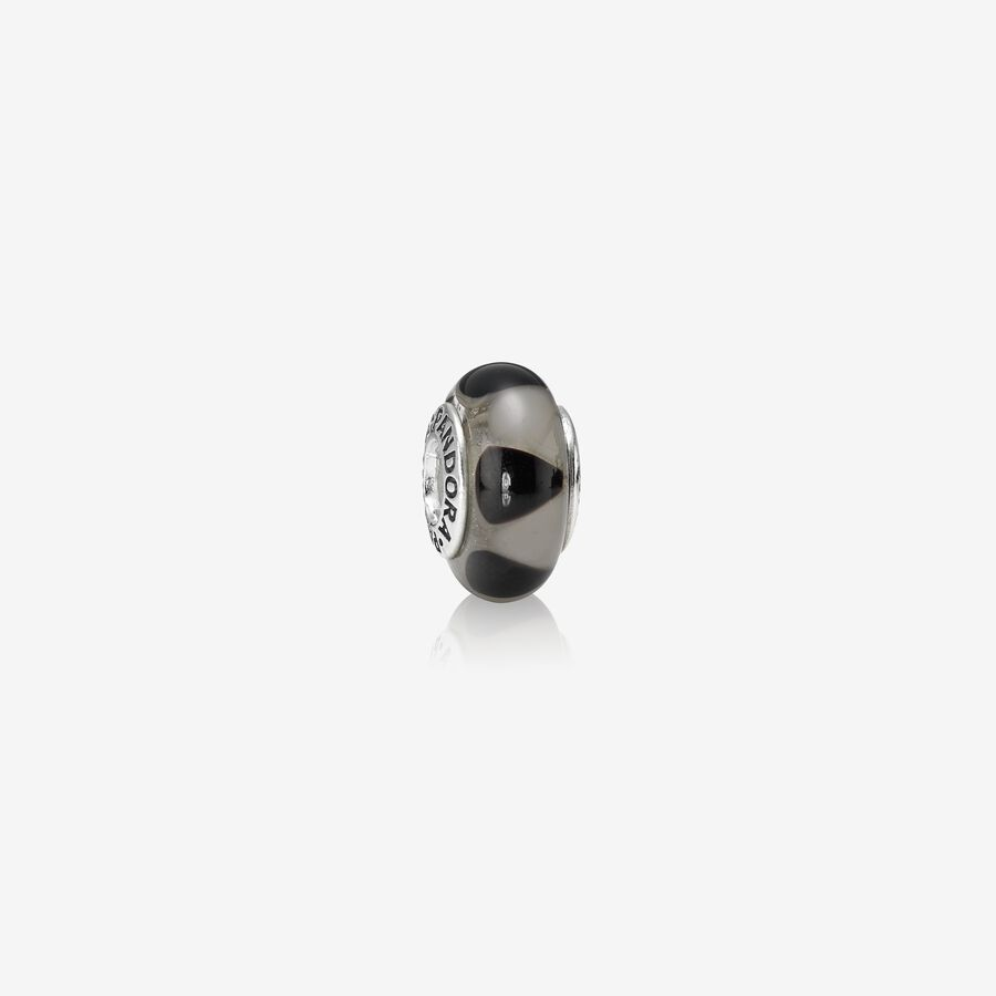 Charm Cristal de Murano Triangulos Negro image number 0