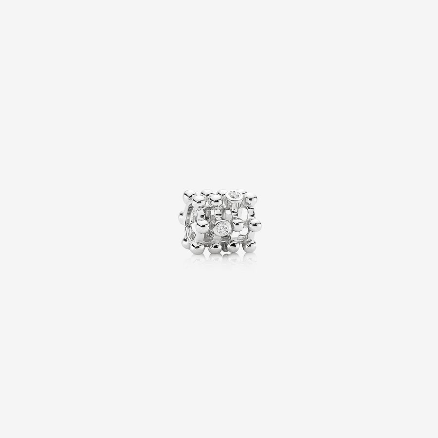 Matrix, Abstract white gold charm, 0.04ct TW h/vs diamonds image number 0