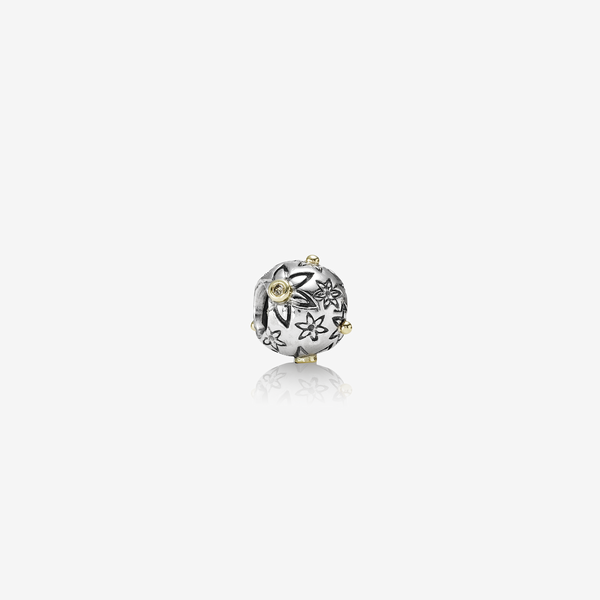 Starflower, floral silver charm, 14k, 0.03ct TW cognac coloured diamonds image number null