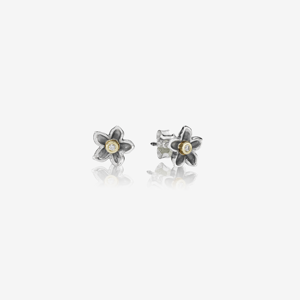 Silver earring, 14k, 0.03ct TW h/vs diamonds image number null