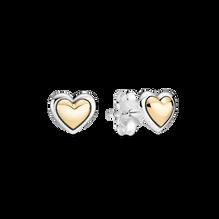 Pendientes de Botón Corazón de Centro Dorado