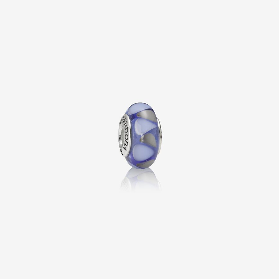 Charm Cristal de Murano Triangulos Azul image number 0